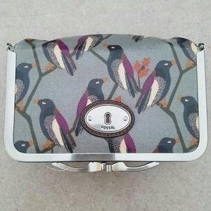 Fossil/ key-per bird print cosmetic case